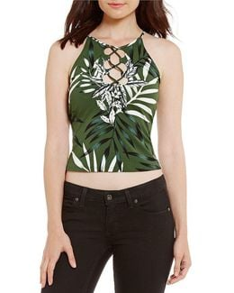 Misfit Palm Printed Lace-up Tank Top