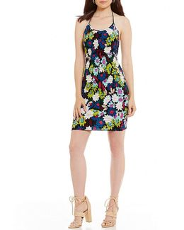 Poppy Printed Smocked Halter Neck Sheath Dress