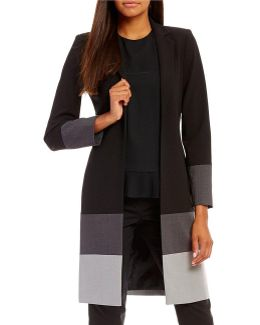 Luxe Stretch Suiting Colorblock Long Jacket