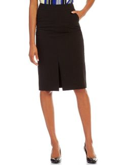 Luxe Stretch Suiting Slit Front Top-stitched Pencil Skirt