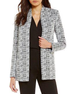 Geometric Jacquard Open Front Jacket