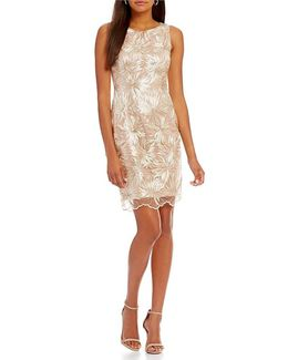 Embroidered Floral Mesh Lace Sheath Dress