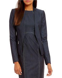 Dressy Stretch Denim Zip Pocket Open Front Jacket