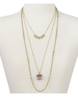 Rock Crystal And Druzy Stone Multistrand Necklace