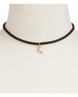Moon Charm Leather Choker Necklace