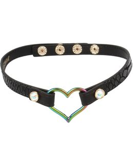Oil Slick Heart Pendant Black Leather Choker Necklace