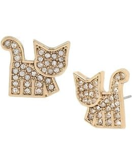 Crystal And Gold Stud Cat Earrings
