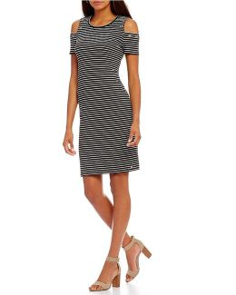 Short Sleeve Cold Shoulder Stripe Knit Jersey Dress