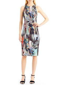 Techno Print Sheath Dress