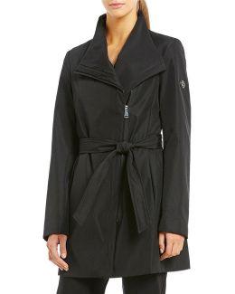 Asymmetrical Belted Softshell Wrap Rain Coat