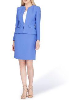 Open Neckline Skirt Suit