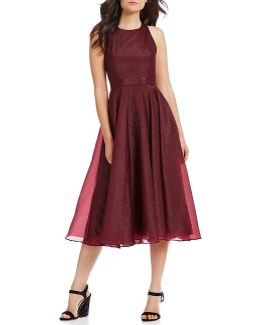 Belted Organza Fit And Flare Midi Dress