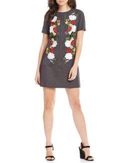 Denim Embroidered A-line Dress