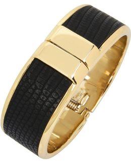 Gold And Black Hinged Bracelet