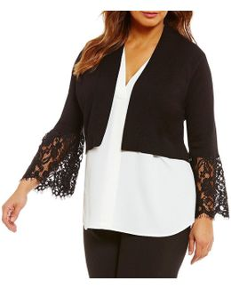 Plus Lace Bell-sleeve Shrug