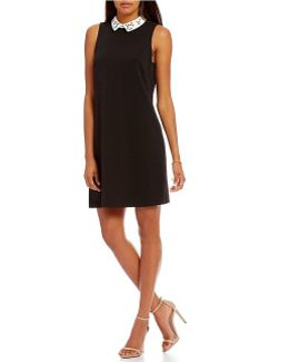 Embellished Contrast Collar A-line Dress