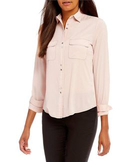 Contrast Stitch Patch Pocket Long Sleeve Shirt