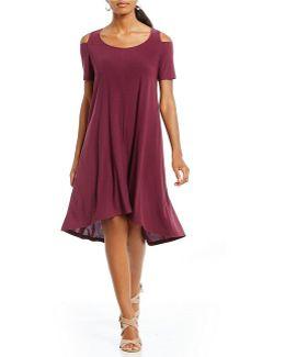 Cold Shoulder Hi-low Hem Trapeze Shift Dress