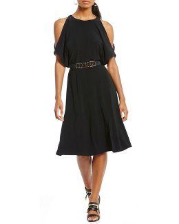 Matte Jersey Slit Dolman Sleeve Belted Dress