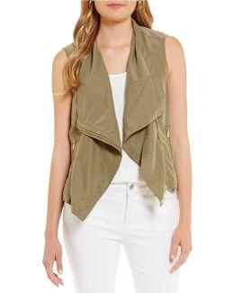 Asymmetrical Zip Front Drape Neck Vest