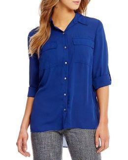 Roll-sleeve Tiered Back Hi-low Hem Shirt