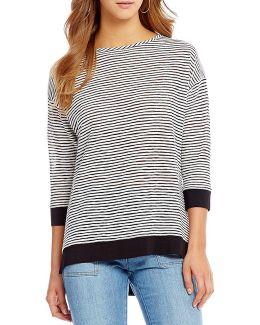Stripe Knit Jersey Drop Shoulder Hi-low Hem Tunic