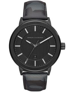 Ax Analog Camouflage Leather-strap Watch