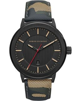 Ax Camouflage Leather Strap Street Analog Watch