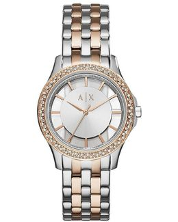 Ax Rose Gold-tone Double Pav Crystal Analog Watch