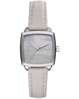 Ax Square Mother-of-pearl Analog Leather-strap Watch