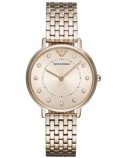 Ladies Two Hand Pastel Pink Ip Stainless Steel Analog Watch