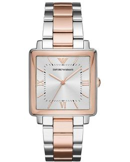 Ladies Three-hand Two-tone Stainless Steel Analog Watch
