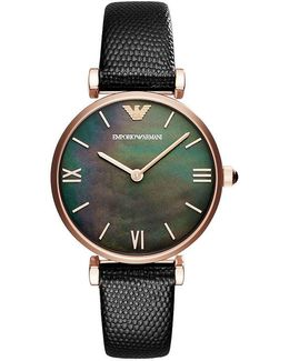 Ladies Two-hand Black Leather Analog Watch