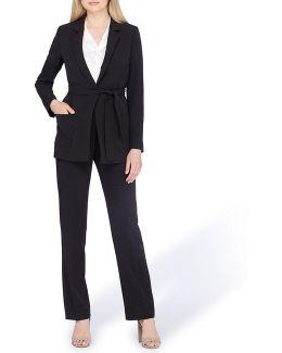 Tie Belt Notoh Collar Pant Suit