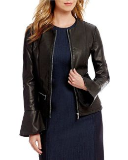 Faux Leather Zip Front Flare Cuff Jacket
