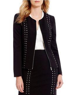 Scuba Crepe Zip Front Stud Embellished Jacket