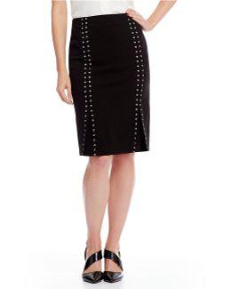 Scuba Crepe Stud Embellished Pencil Skirt