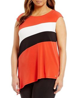 Plus Colorblock Sleeveless Angle Hem Top