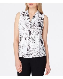 Floral-print Tie-neck Shell