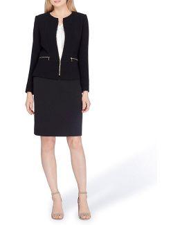 Petite Zip-front Skirt Suit