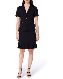 Bi-stretch Pleated Skirt Suit