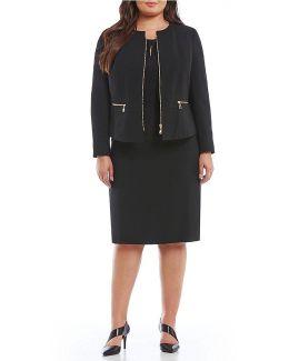 Plus Zip-front Skirt Suit
