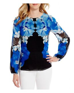 Mirrored Floral Print Long Blouson Sleeve Top