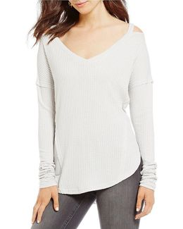 Ives Clavical Cut-out Long-sleeve Thermal Top