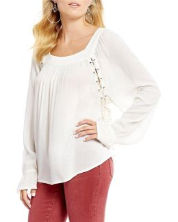 Bailey Lace-up-side Peasant Top