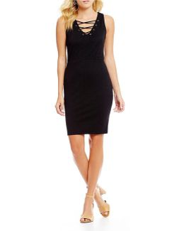 Terrie Lace-up Sheath Dress