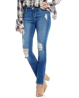 Arrow Destructed Roll-cuff Straight Cropped Jeans