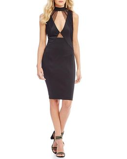 Claudia Choker Neck Mesh Cutout Sheath Dress