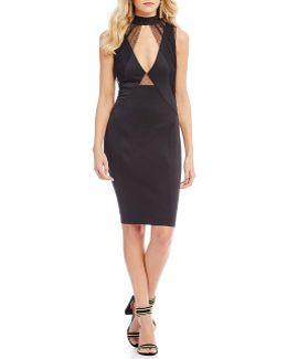 Claudia Choker Neck Mesh Cutout Sheath Dress