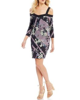 Juliet Printed Cold-shoulder Sheath Dress